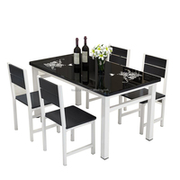 Free sample 2018 new design dining table &chair with wood &glass white and black