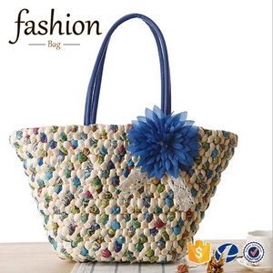 CR Social audit passed manufacture 2016 new summer shoulder bag with blue flower key chain wing shaped wholesale straw beach bag