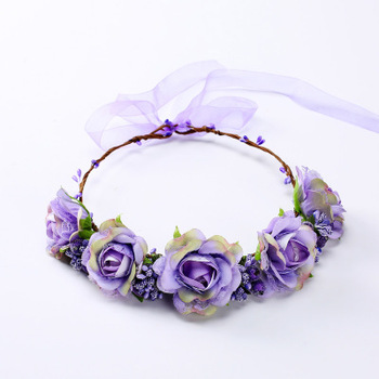 hot sales exaggerated forest  artificial flower garland headband for girls