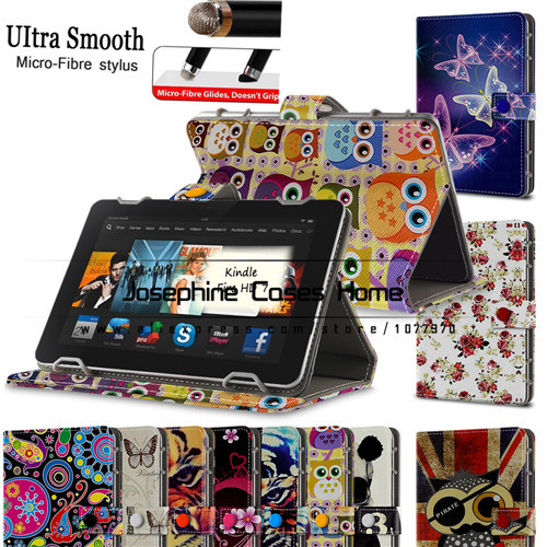 Stock printed PU leather stand case cover for Kindle fire hd Tablet cover case for Kindle fire hd 7 inch have 10patterns