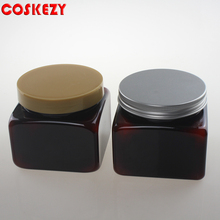 Empty 500 ml Amber PET Cream Jar with PP Lid, Square Shape 500g PET Brown Cosmetic Container Packaging, 500ml PET Bottle