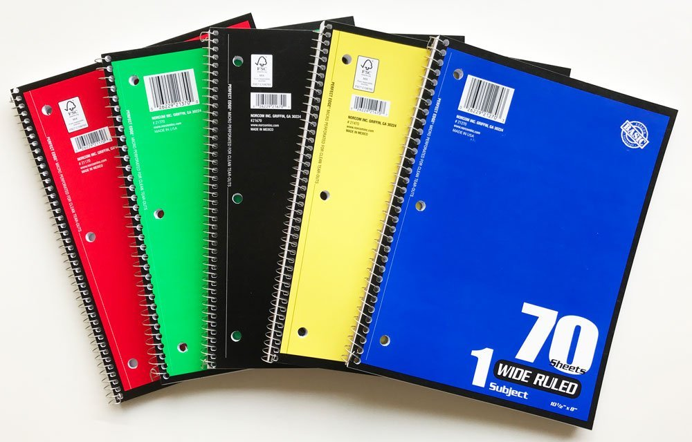 Buy Norcom Wide Ruled Spiral Bound 70 Sheet Notebooks (Pack