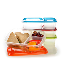 plastic food container,3 Compartments lunch food storage container,rectangle plastic bento box