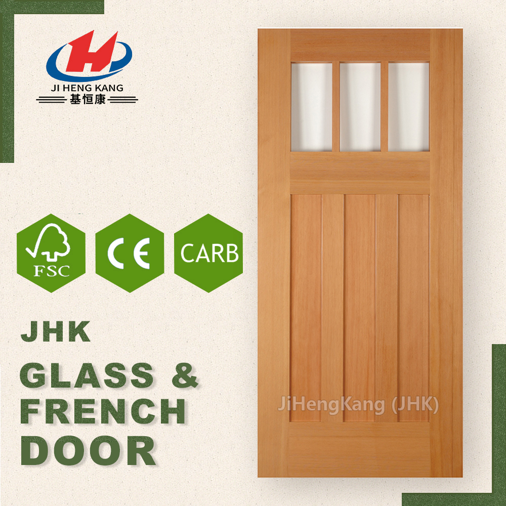 JHK- G32-1 Wood Frosted Glass Kitchen Cabinet Interior Mirrored French Doors Doors For Sale