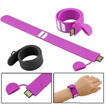 Custom Silicone Slap Bracelet Wrist Band Wristband Usb Stick Drives Flash Memory Pen Drive With