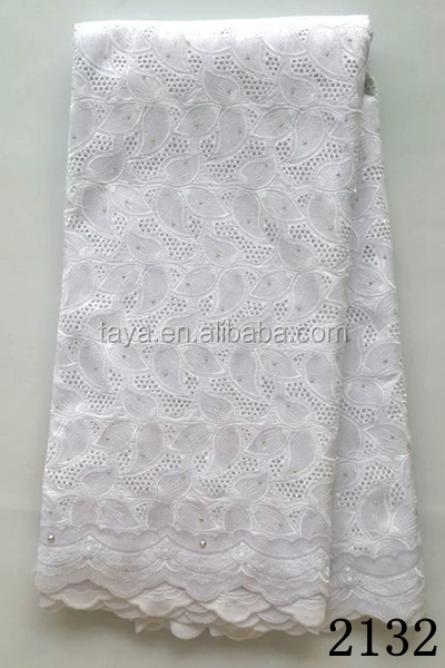 Fancy white bridal embroidered 100% thick cotton lace fabric for party