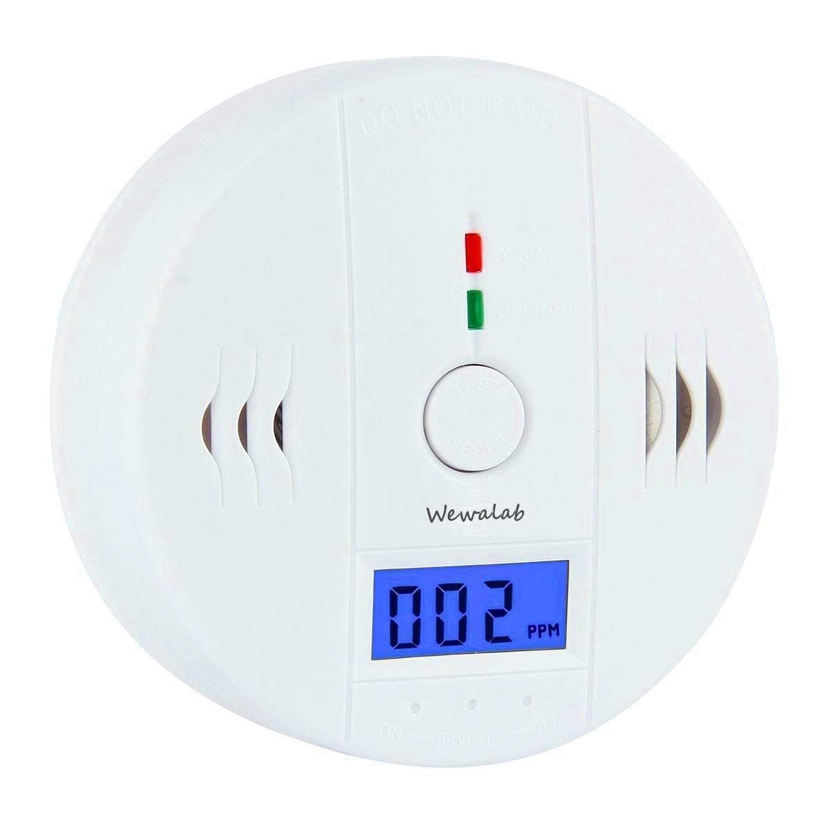 Wewalab CO Detector,Carbon Monoxide Gas Detection,Carbon Monoxide Alarm, LCD Portable Security Gas CO Monitor,Battery Powered