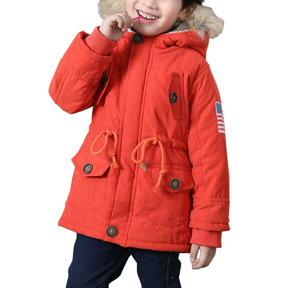 Cromoncent Boys Girls Childrens Faux Fur Hooded Mid-Long Quilted Parkas Down Jacket