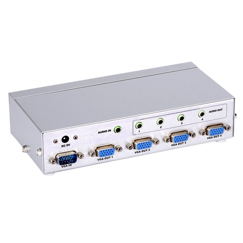 Eazy2hD 4 Port VGA Signal Splitter Boost Box with Stereo Audio 1 PC in to 4 Monitors out 350MHz