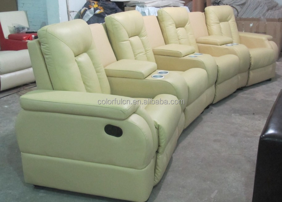 Yellow Leather Recliner Sofa For Home Solan Hotel 4 Seats Theater