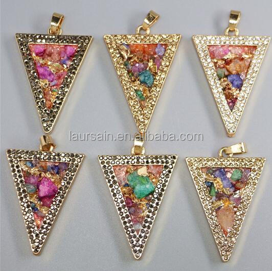 LS-D6482 Wholesale Triangle Natural Quartz Chips Stone Pendant,Fashion Gold Electroplated Nuggest Quartz Bezel Stone Pendant