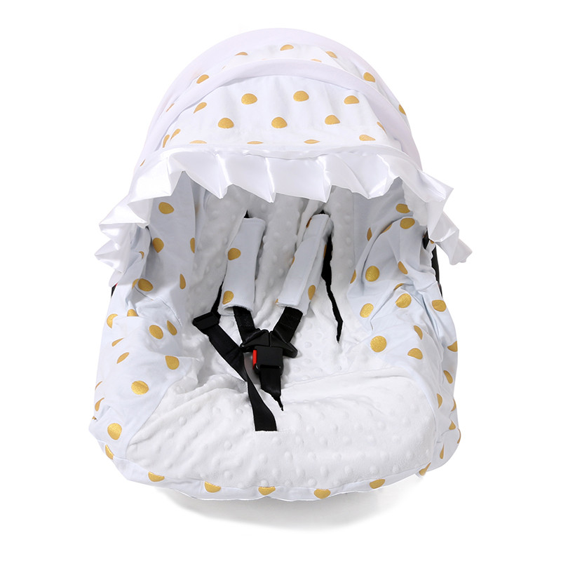 white cotton gold polka winter safe kids outdoor canopy baby car seat cover and nursing sleeping. Black Bedroom Furniture Sets. Home Design Ideas