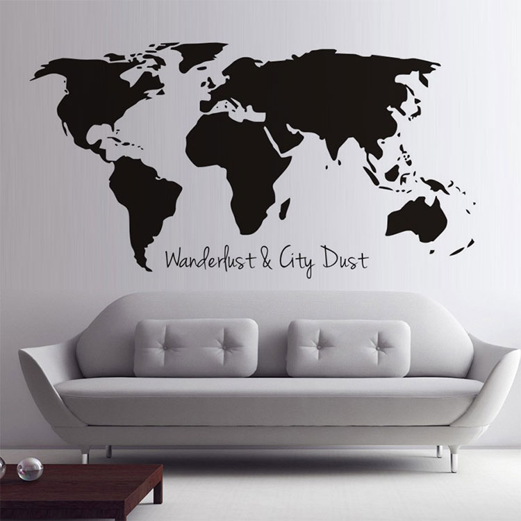 custom printing colorful decal diy world map vinyl large wall
