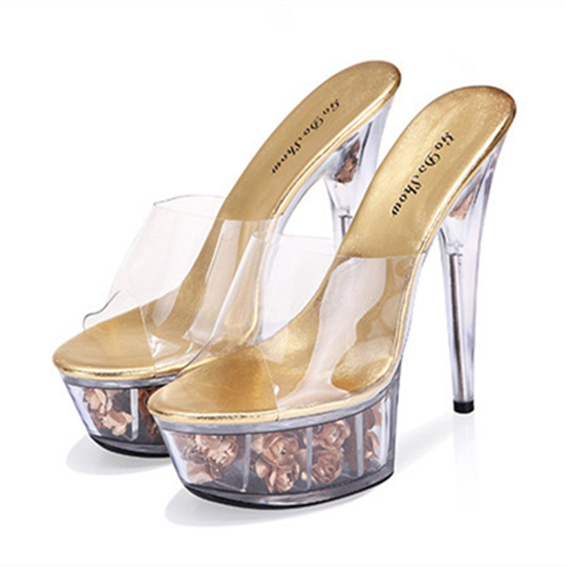 7eaa2b3af91 Buy Roses Transparent Crystal Sandals New Summer Women Super High Heel Thin Heels  Sandals Sweet Princess Flower Sandals And Slippers in Cheap Price on ...