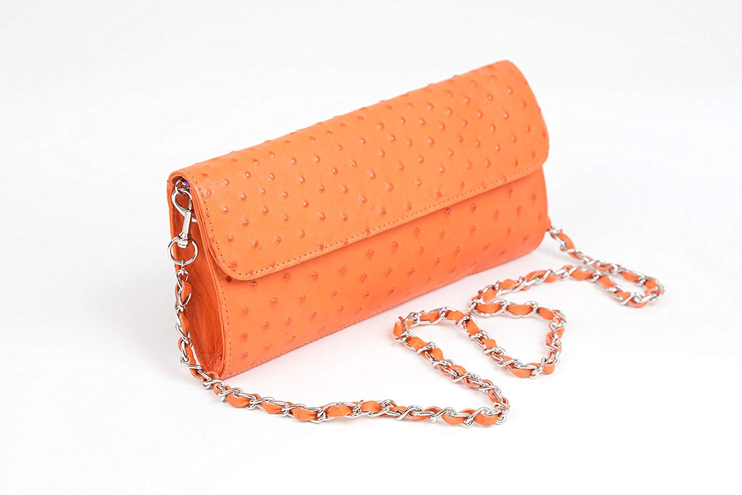 Get Quotations Karoo Collection Tokai Tangerine Orange 100 Authentic Free Range Ostrich Leather Handbag Made In South