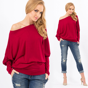 Pullover Tops Baggy loose fit Off-Shoulder Shirts Batwing SleeveTunics Blouse