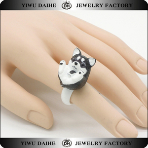 Daihe husky dog animal ring plastic jewelry