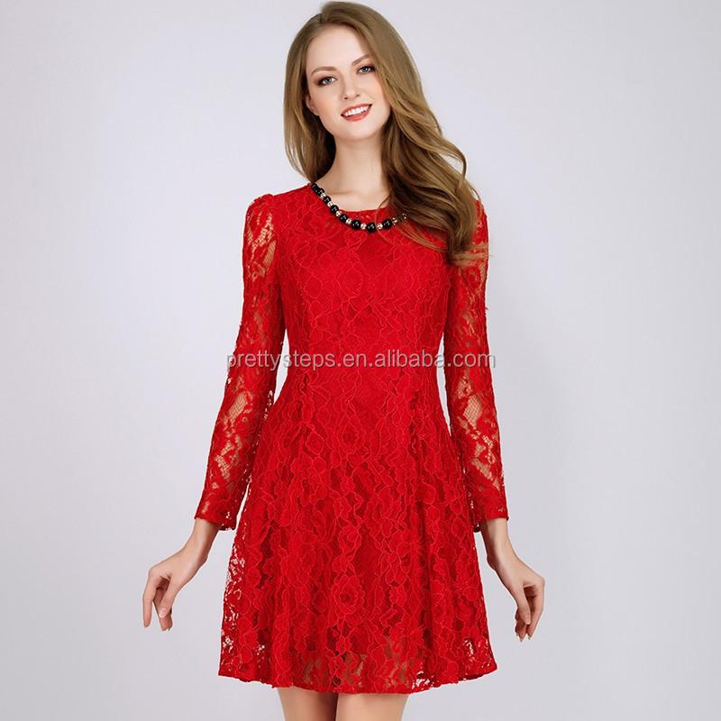 Vestido rojo corto de manga larga