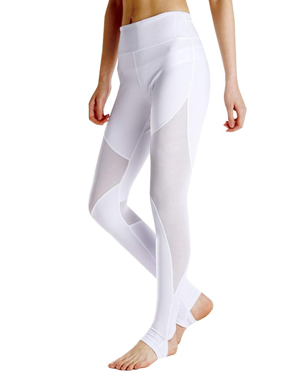 aa1e29cd7fe49 Get Quotations · Nulibenna Womens Workout Insert Mesh Yoga Leggings High Waist  Stirrup Tights Gym