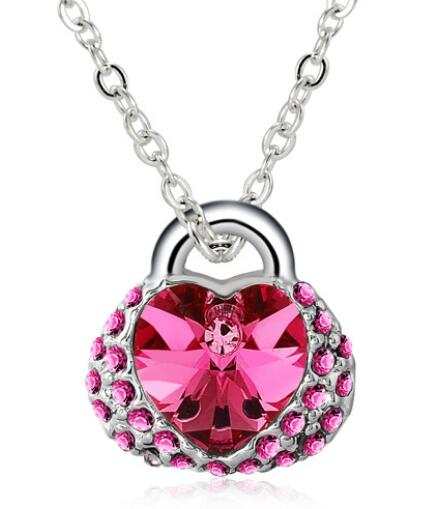 Colorful crystal bag shape necklace <strong>jewelry</strong> with heart for girl wholesale