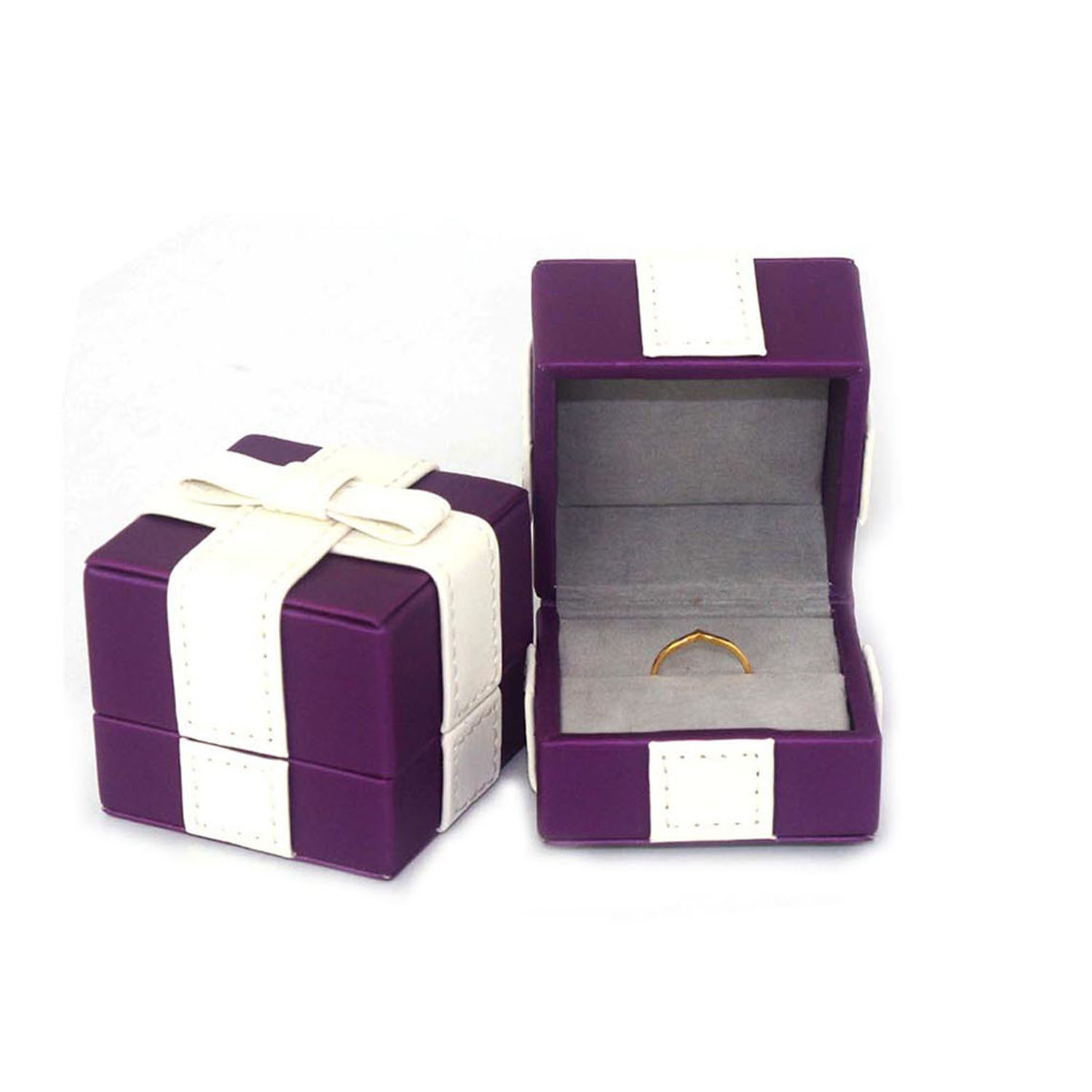 High Quality Ring Display Box Elegant Square Leather Jewelry Ring Box