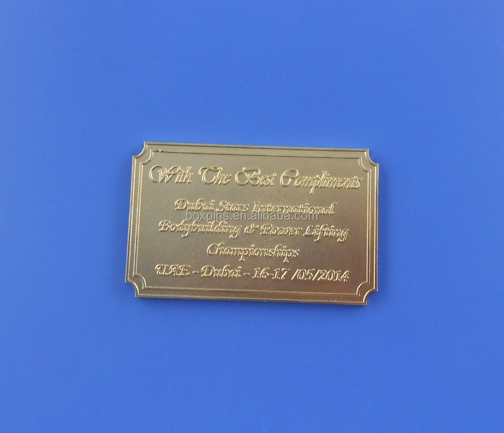 metal stamping engraved plate name plate for trophy