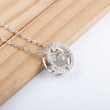 Custom CZ Micro Paved I Love You Valentine'S Day Gift Circle Women Necklace