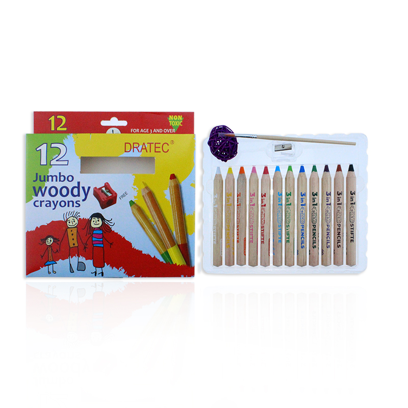 LARGE WOODY WAX CRAYONS 12PCS PACKING FOR KIDS EASY DRAWING NON TOXIC