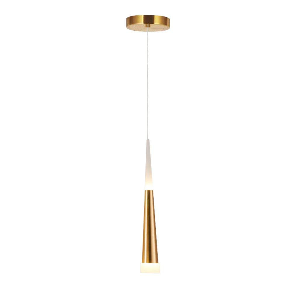 Contemporary LED Pendant Light, STARRYOL 7W Modern Decoration Hanging Ceiling Light with Cone Style, Perfect for Living Room, Restaurant, Bedroom, Café etc - Gold