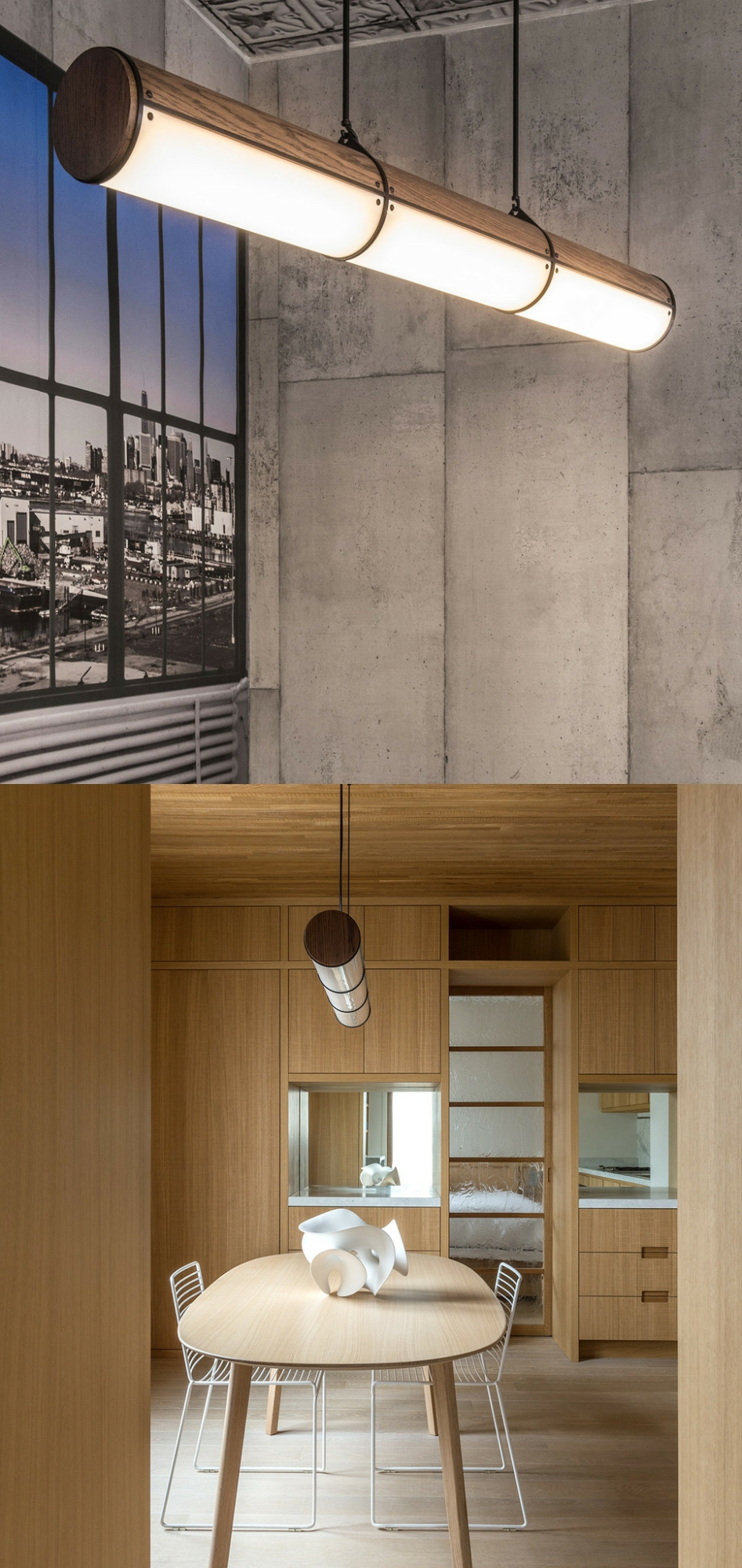 Endless Wooden Led Tube Pendant Lamp 5 Units Mini Round Acrylic ...