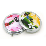 heart shaped custom flower pattern compact pocket mirrors