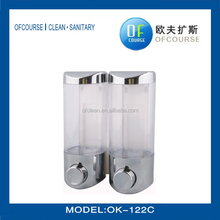 fashional designhotel supply hand liquid soap dispenser Plastic double soap dispenser bottle