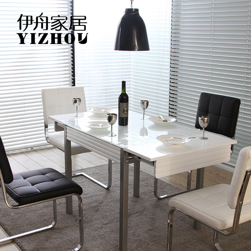 High End Dining Room Tables: Iraqi Boat White Black Light Tempered Glass Table Stylish