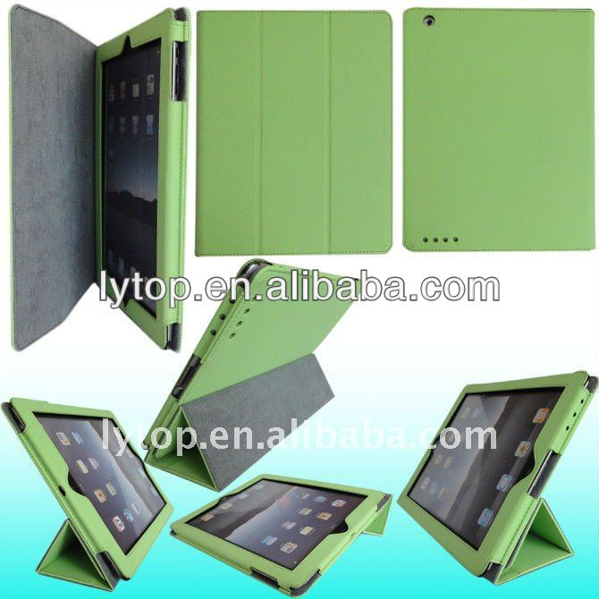 green for smart cover ipad three foldable with stand