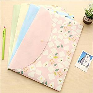 Katoot@ 12 pcs/lot Kawaii Sweet Flower Series File Bag Cartoon A4 PVC Waterproof Filebag DIY Stationery Bag Office School Supplies
