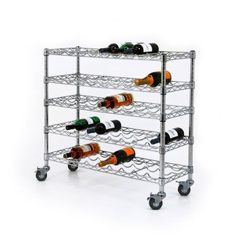Nsf Wire Chrome Floor Standing Metal Rolling Wine Rack