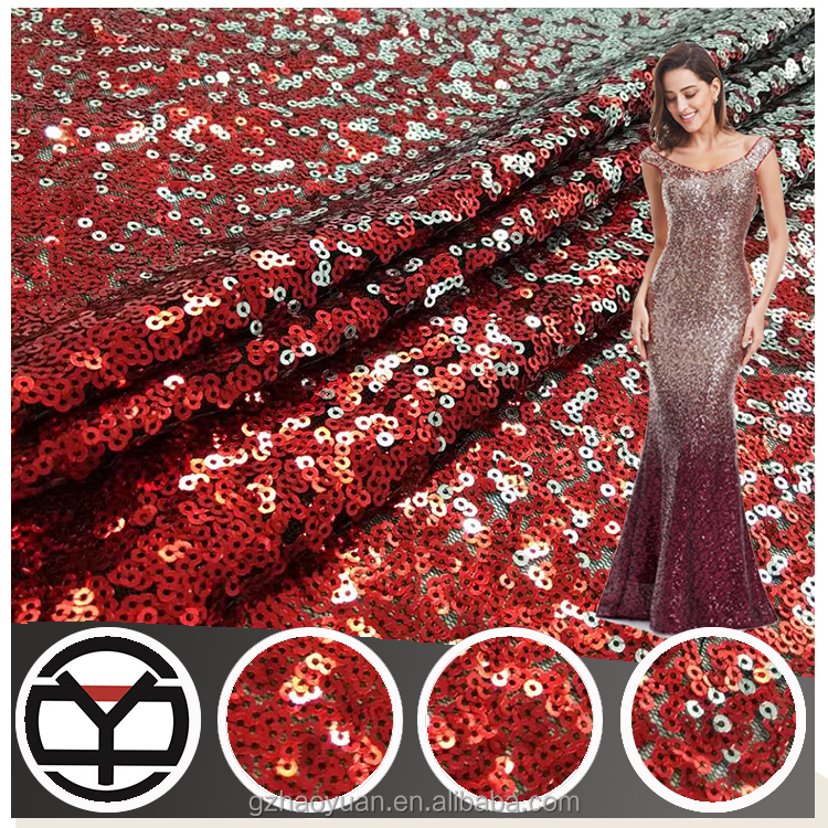 C1 French dubai lace designs luxury heavy sequin red sequin fabric for dresses