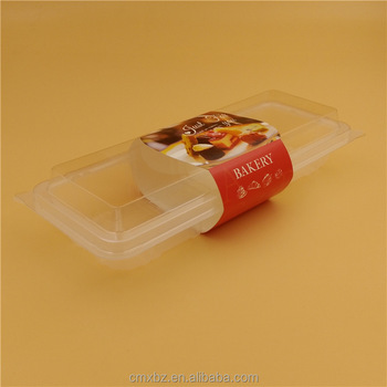 Food grade PET long plastic clear rectangular cake box with paper sleeve