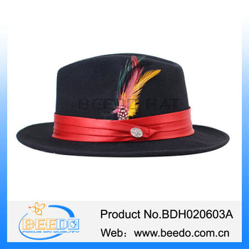Hot Sale Men Solid Wool Brim Fedora Hasidic Jewish Black Hats ... f7486917fe9