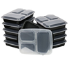 Meal Prep 3-Compartment Food Containers with Lids for Portion Control, Stackable - Leak Proof, Microwave, Dishwasher Safe,