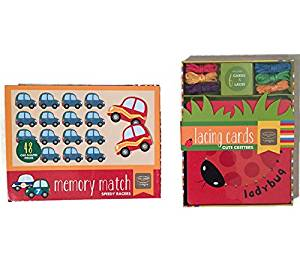 Memory Match Car Game and Cute Critters Lacing Cards Bundle By Kathy Ireland. Age 3 + Learning Educational Toy (2 Items)