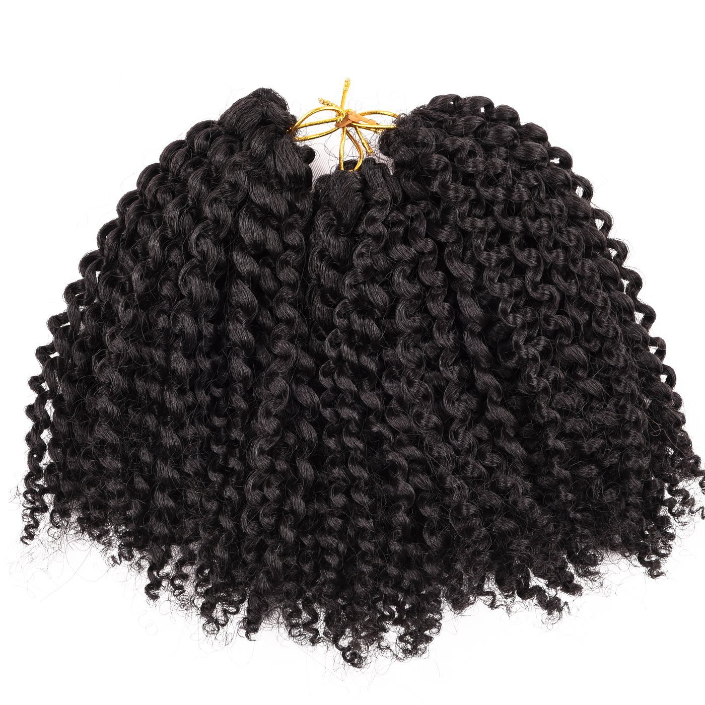 Silike Synthetic Ombre Marlybob Kinky Curly Curl (3pcs/set 1#) 6'' Curly Wave Crochet Braiding Hair
