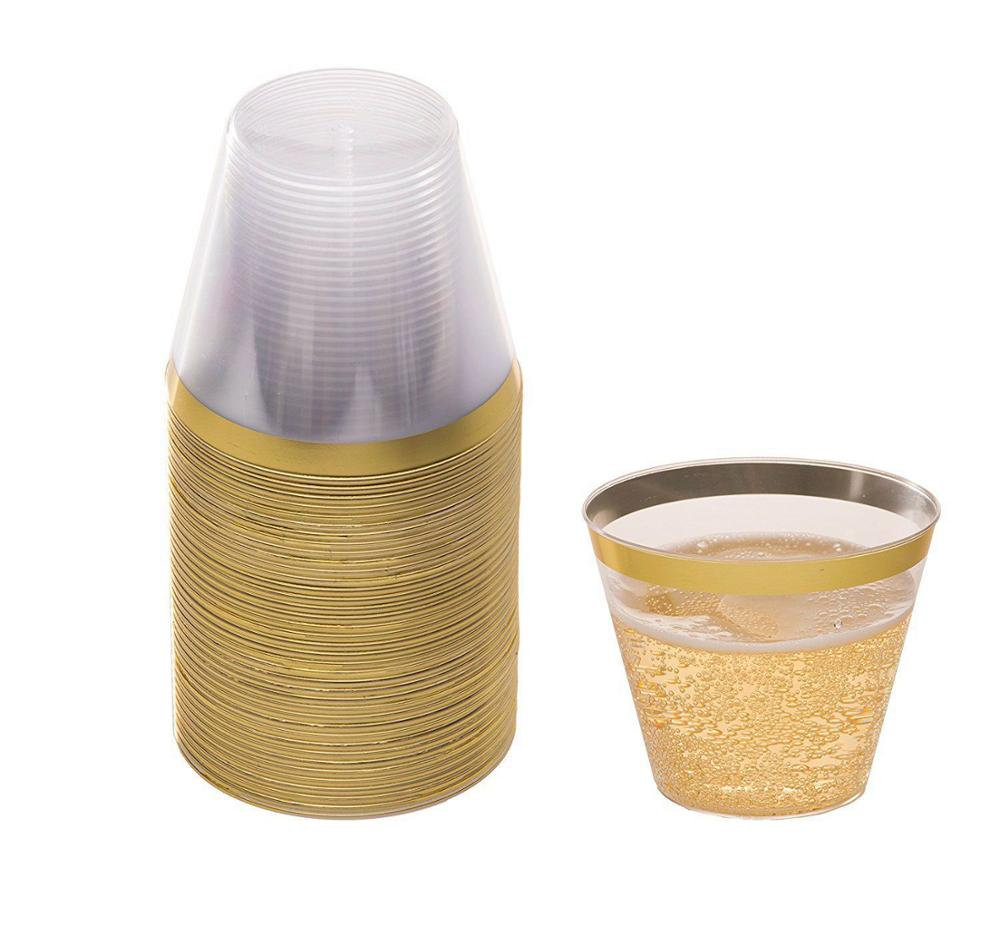 9oz water gold rim plastic <strong>cup</strong> for water/juice/coffee
