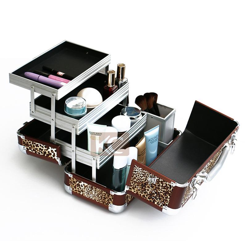 Professional portable hard travel aluminum double-sided beauty cosmetic case with handle