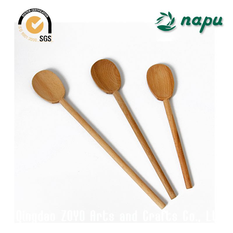 First Class Beech Wooden Soup Spoon With Long Handle