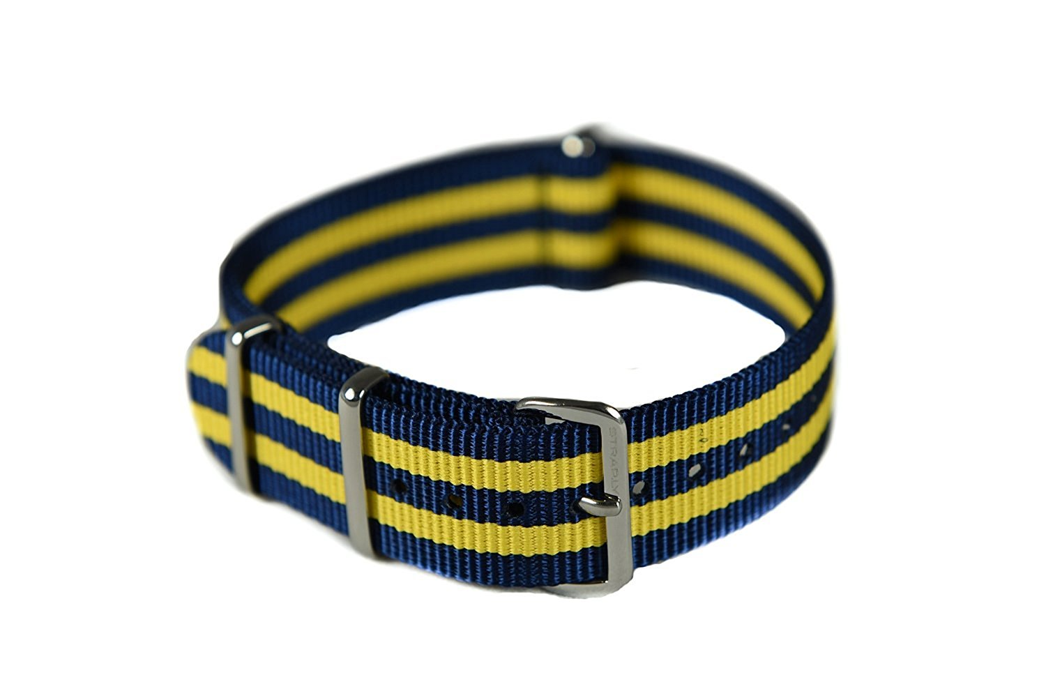 NATO G10 Nylon Premium Quality Replacement Watch Band Strap - 18mm / Blue Double Yellow - FITS ALL WATCHES - (Military Army, J. Crew, Timex Weekender, Daniel Wellington, Urban Outfitters, Luminox, Seiko, Citizen, Blackout Watches, Victorinox Swiss Army, Rolex and more)
