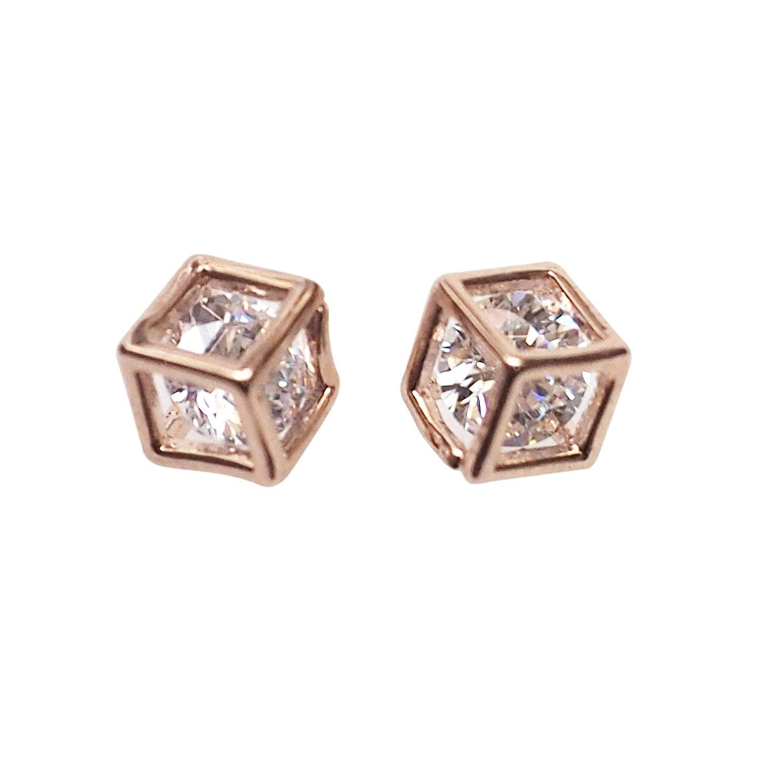 Miyabi Grace Women's Comfortable Stylish Cube Simple Cubic Zirconia Crystal Invisible Clip On Stud Earrings Rose gold tone