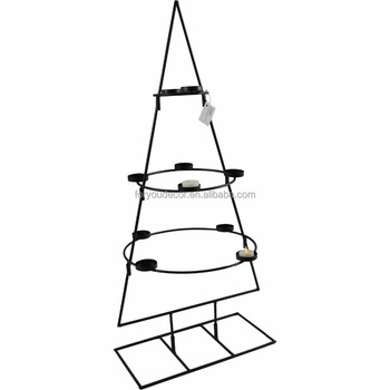 CH-31824-90.5 tall wholesale tealight iron metal christmas tree candle holder