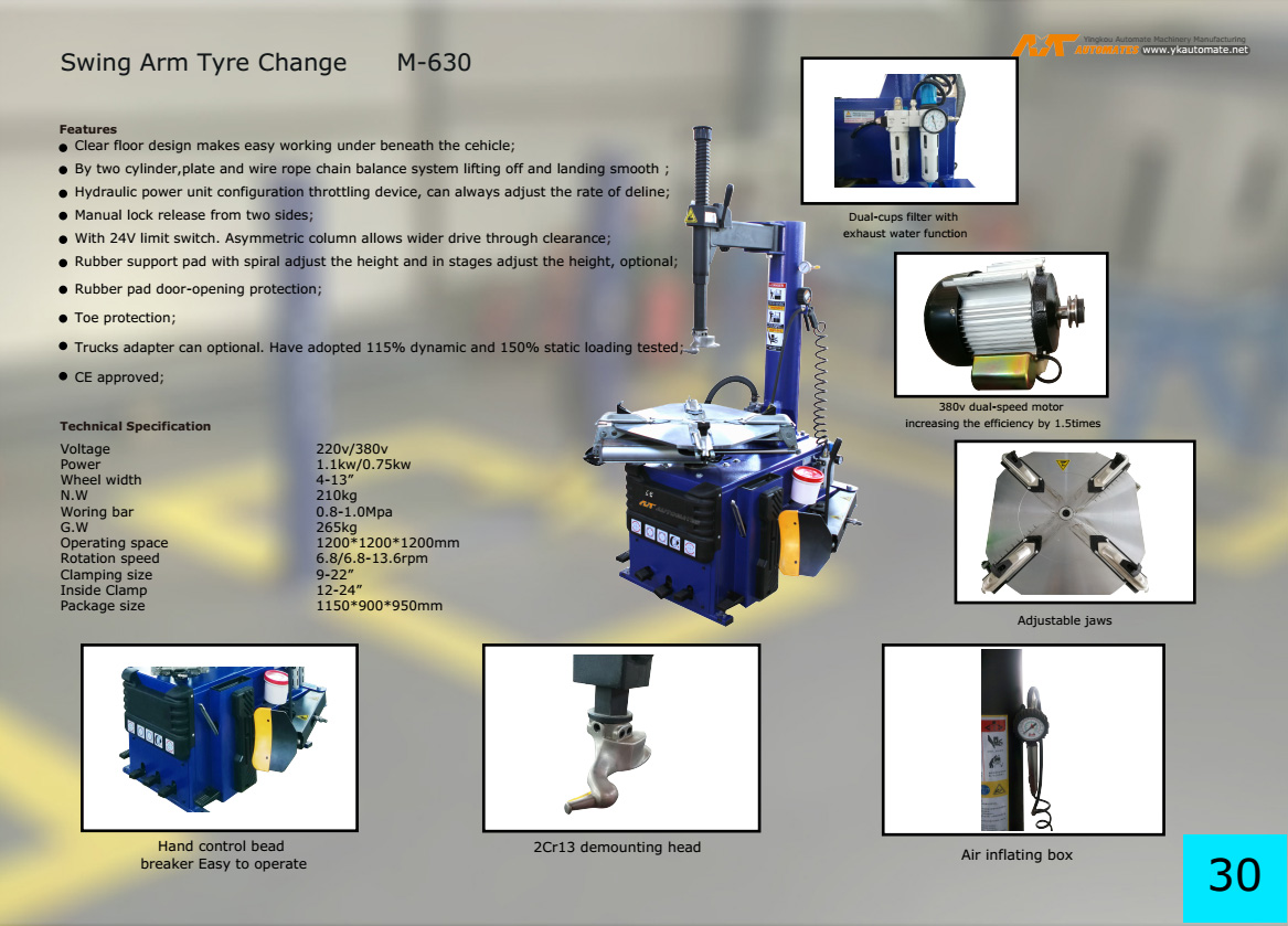 Semi-Automatic Enhanced  Manufacturer Tire Changer M-630