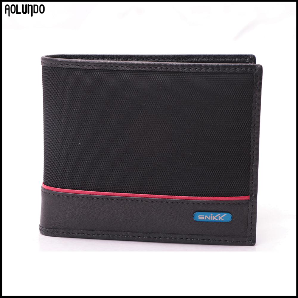 New designer mens nylon leather customized business card wallet